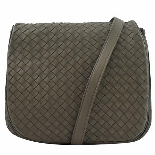 BOTTEGA VENETA 經典編織羊皮翻蓋斜背包.墨綠