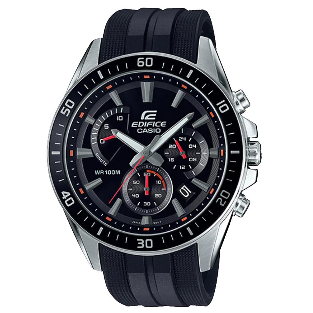 EDIFICE 三眼賽車男錶 樹脂錶帶 黑色錶面 防水100米 EFR-552P-1A