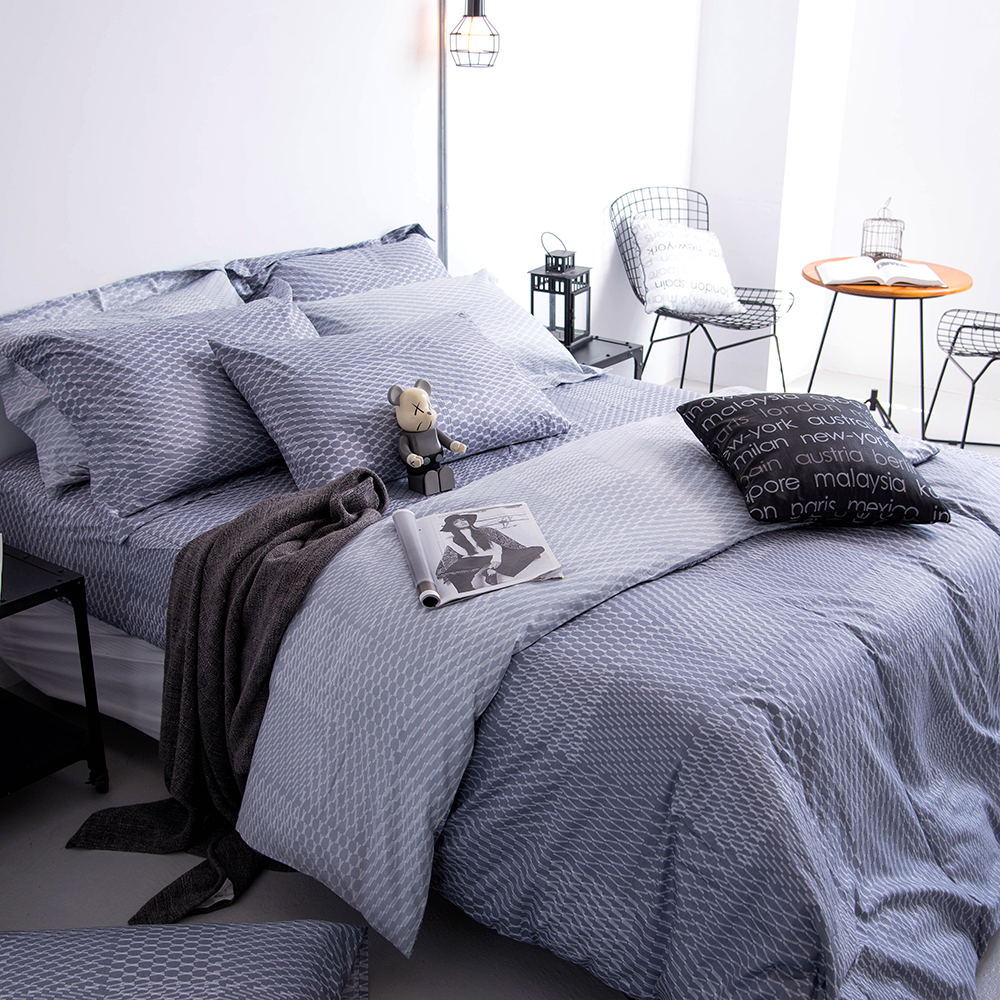 OLIVIA 《 蘭斯洛 鐵灰 》單人兩用被套床包三件組  工業風格系列 MIT原創設計