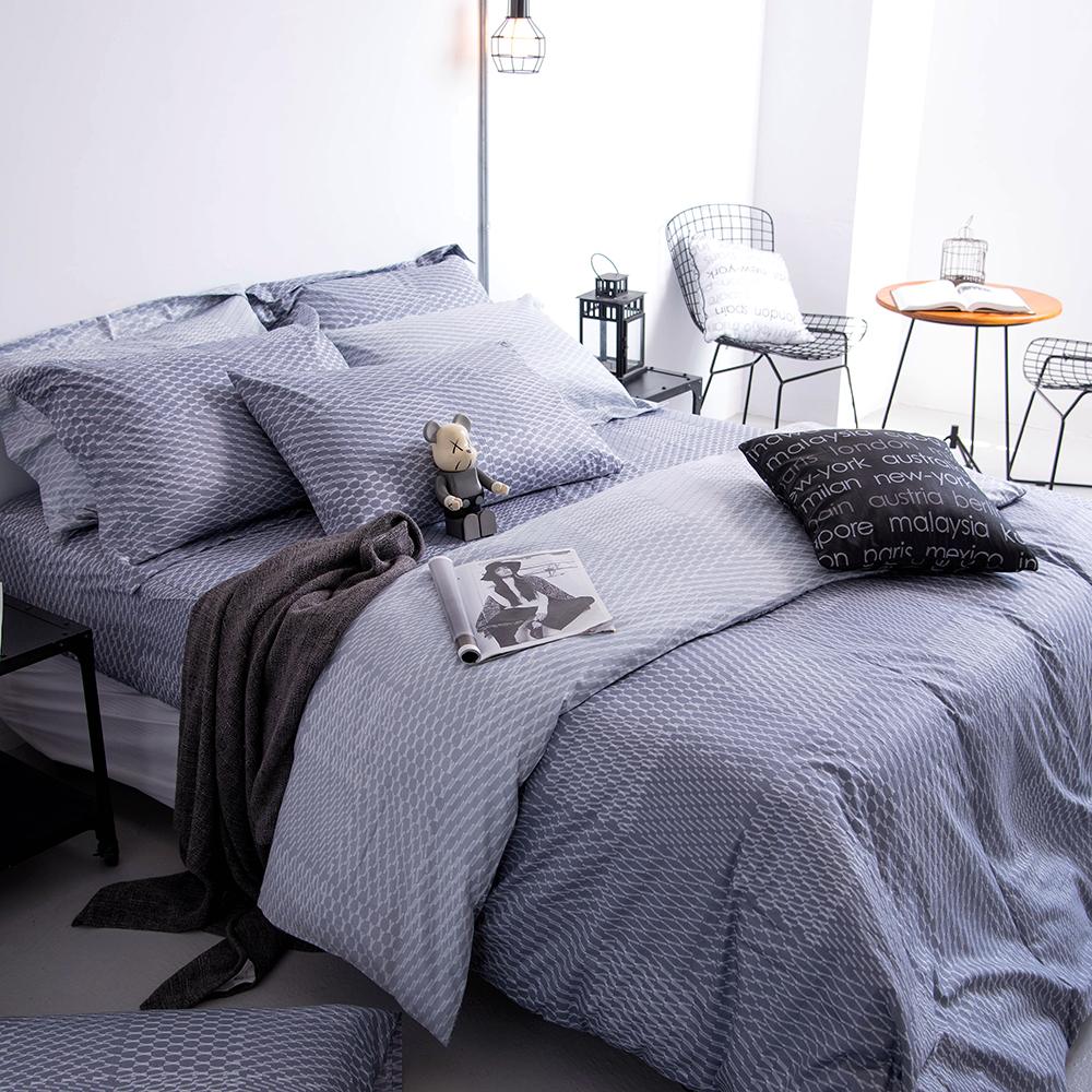 OLIVIA 《 蘭斯洛 鐵灰 》特大雙人兩用被套床包四件組 工業風格系列 MIT原創設計