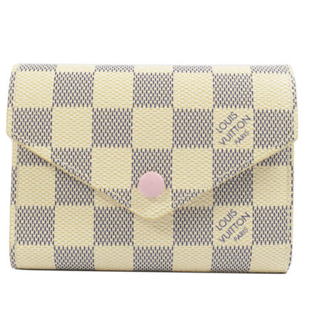Louis Vuitton LV N64022 VICTORINE 白棋盤格零錢中短夾.粉紅邊_預購