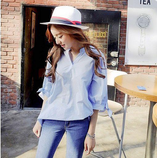 【韓系女衫】M~XL簡約海洋調中袖半扣襯衫