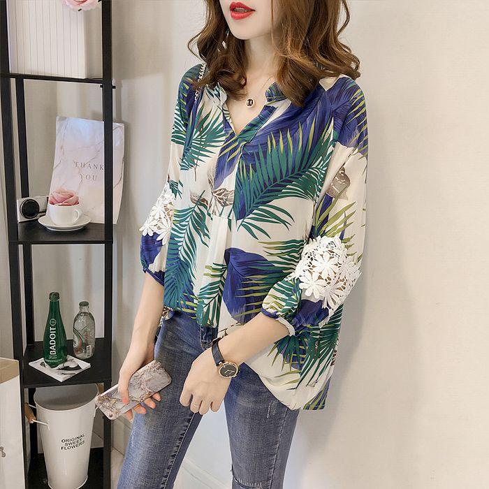 【韓系女衫】寬版熱帶雨林蕾絲拼接袖襯衫-2色