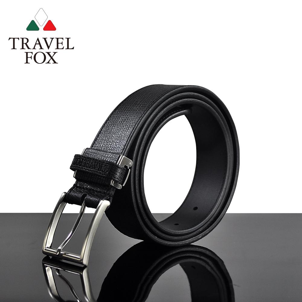 【TRAVEL FOX 旅狐】極簡方形十字紋真皮皮帶(TS077-01)