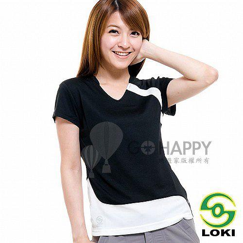 LOKI 女 VANA V領抗UV短袖排汗衣(渡鴉黑)