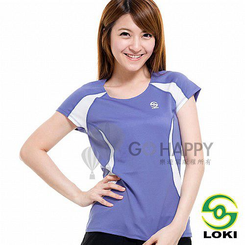 LOKI 女 VANA 圓領抗UV短袖排汗衣(長春花紫)