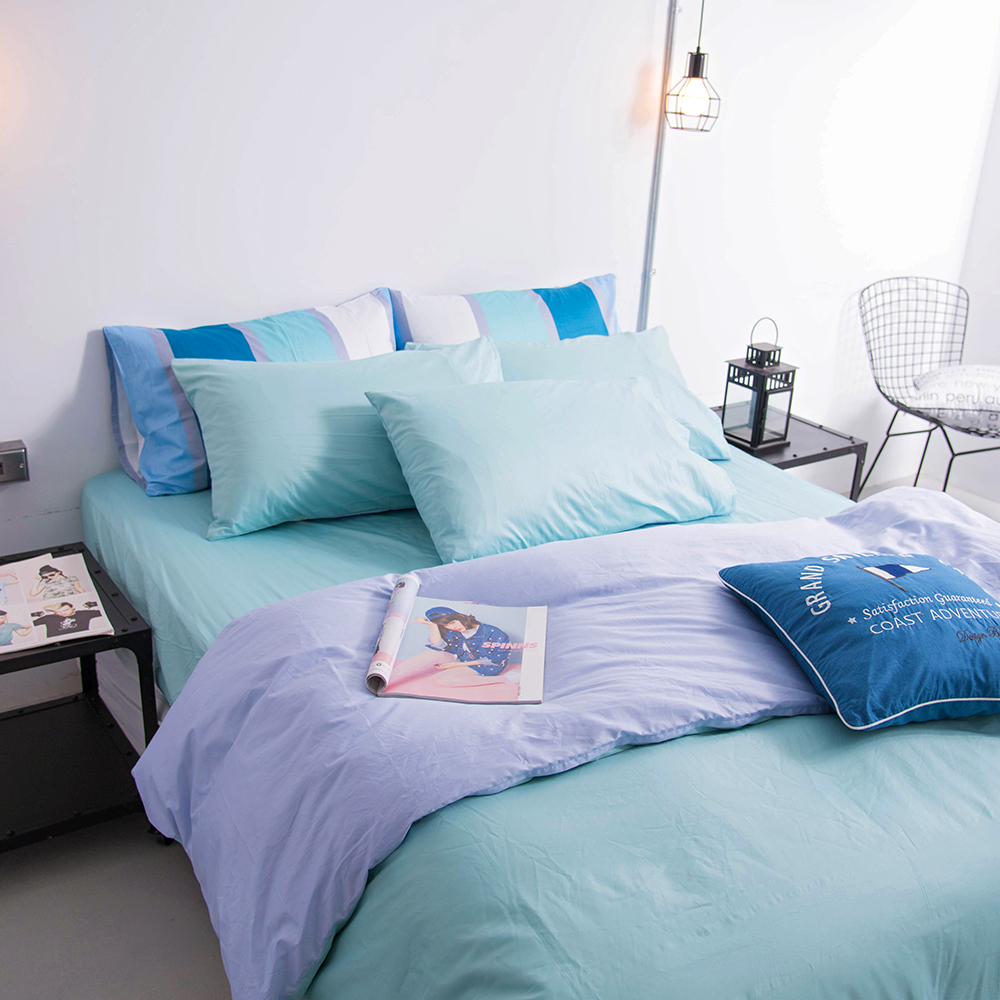 OLIVIA 《 BEST7 粉藍 淺藍 》 特大雙人床包被套四件組 雙色系 素色雙色簡約