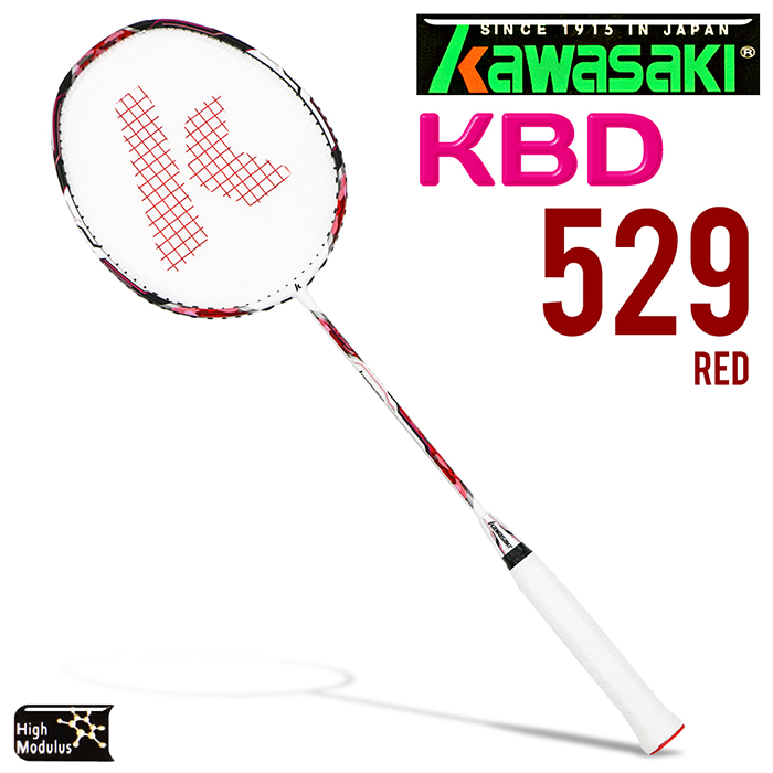 Kawasaki KBD529 碳纖維超輕羽球拍(紅)