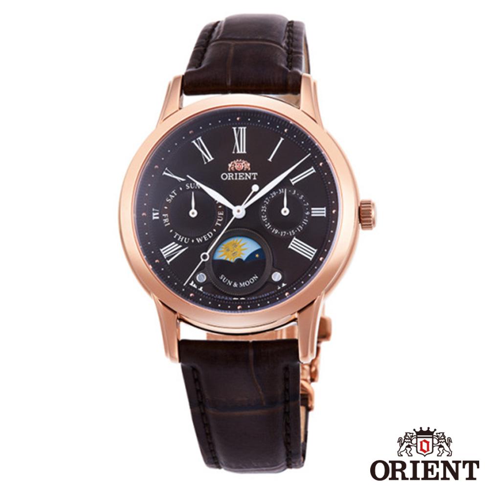 ORIENT東方錶  SUN&MOON 日月相 藍寶石 石英  女錶皮帶-咖啡x34mm  RA-KA0002Y00B