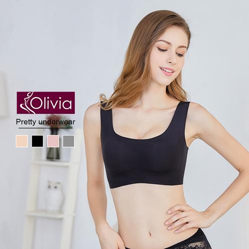 【Olivia】無鋼圈輕薄蕾絲美背無痕內衣(黑色)