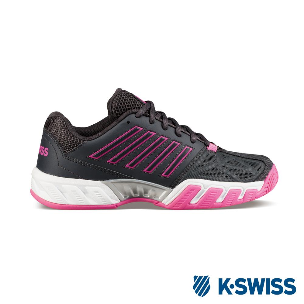 K-Swiss Bigshot Light 3輕量專業網球鞋-女-鐵灰/桃紅