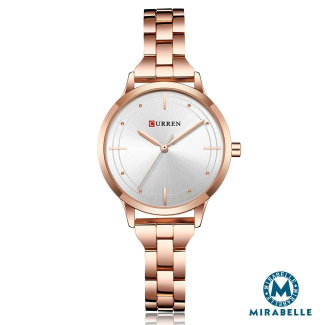 ~Mirabelle~十字顯時~玫瑰金 不鏽鋼錶 白面