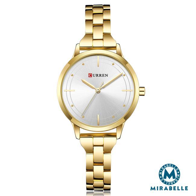 ~Mirabelle~十字顯時~金檳 不鏽鋼錶 白面