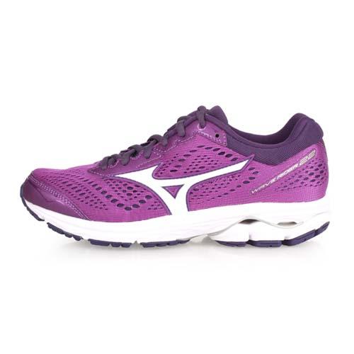 (女) MIZUNO WAVE RIDER 22 慢跑鞋-路跑 美津濃 紫白 24