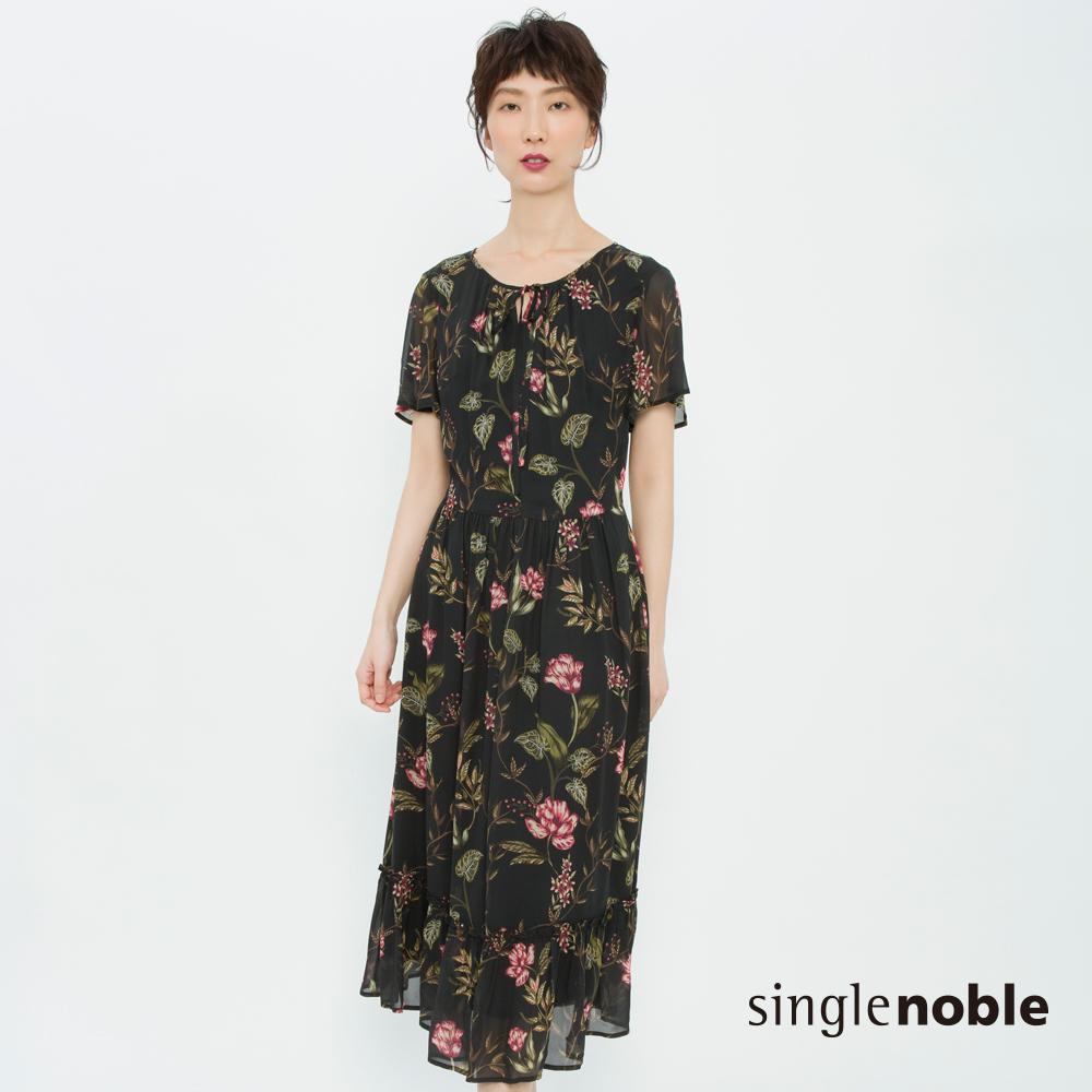 獨身貴族 古典美學花藝拼接荷葉洋裝 2色