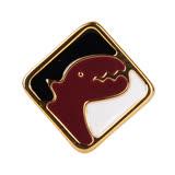 agnes b. -方塊恐龍穿式耳環(紅黑白)/單隻