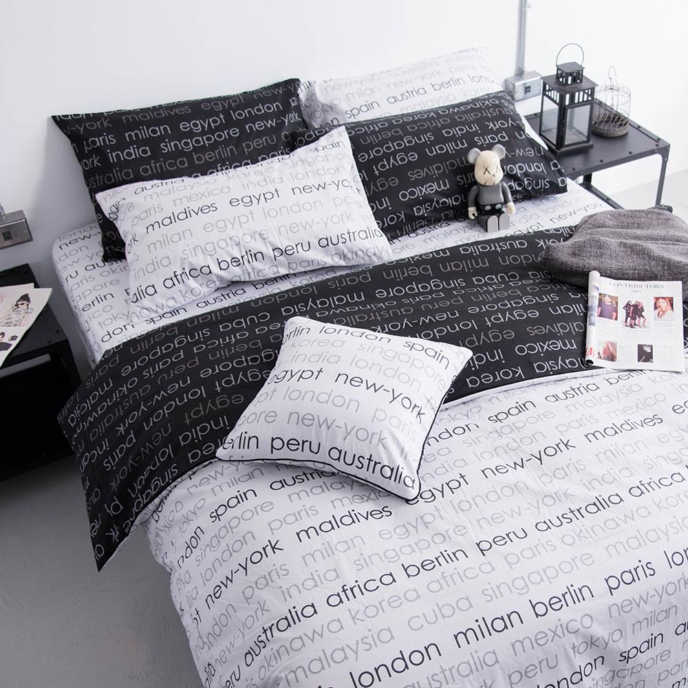 OLIVIA 《 Winston 淺灰 》 雙人全鋪棉床包冬夏兩用被套四件組 歐枕 工業風格系列 MIT原創