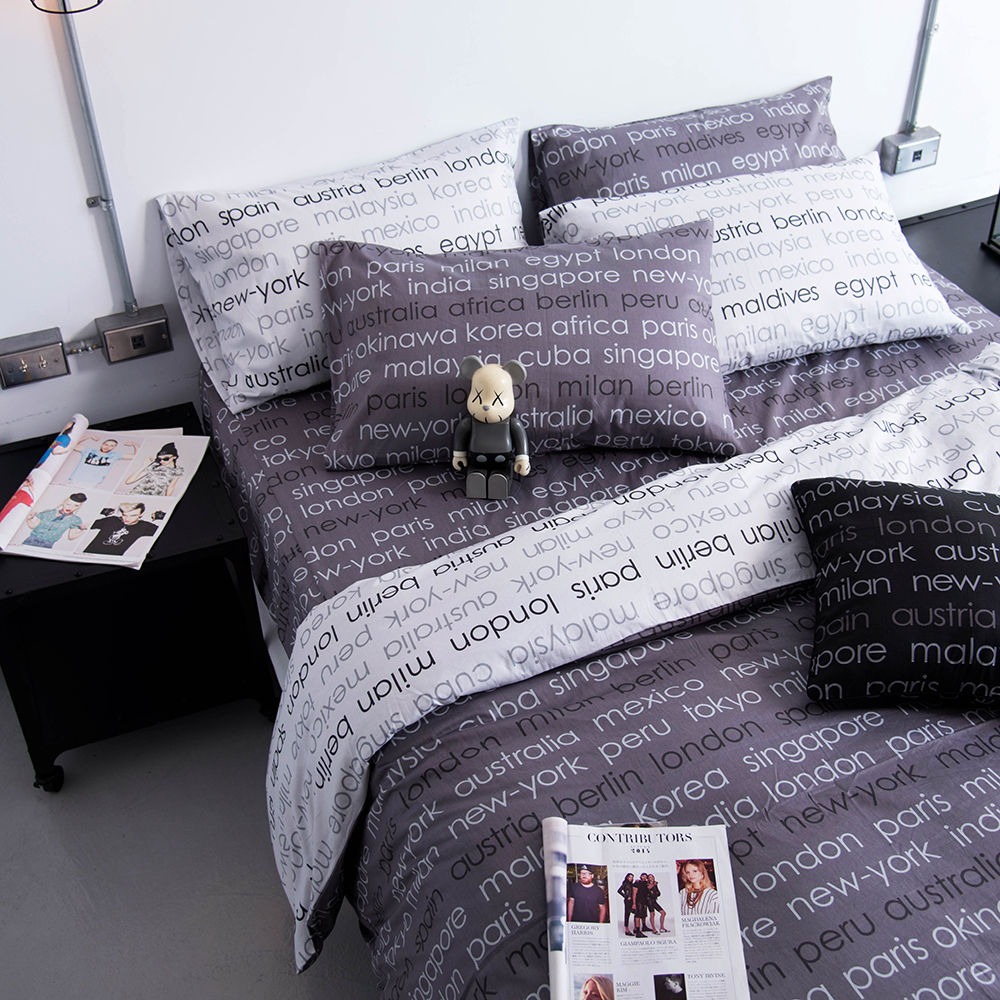 OLIVIA 《 Winston 鐵灰 》 雙人床包枕套三件組 工業風格系列 MIT原創