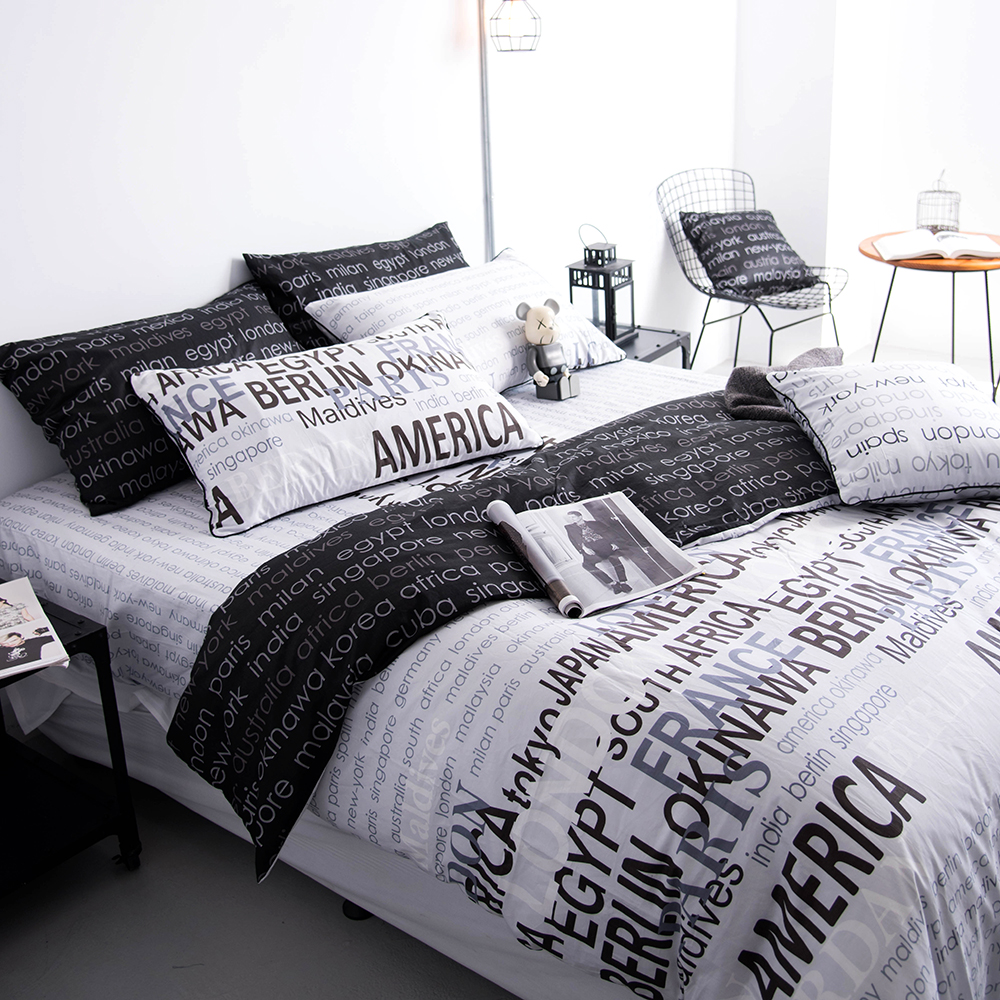 OLIVIA 《 約書亞 淺灰 》特大雙人兩用被套床包四件組 工業風格系列 MIT原創