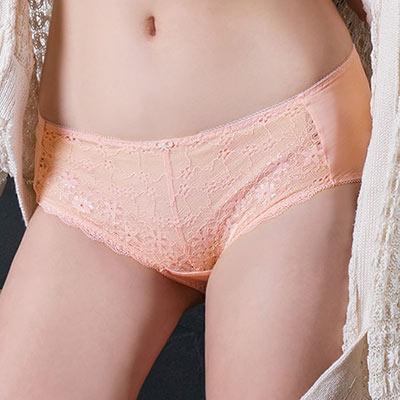 【EASY SHOP】柔情蔓戀 中腰平口褲(粉膚橘)