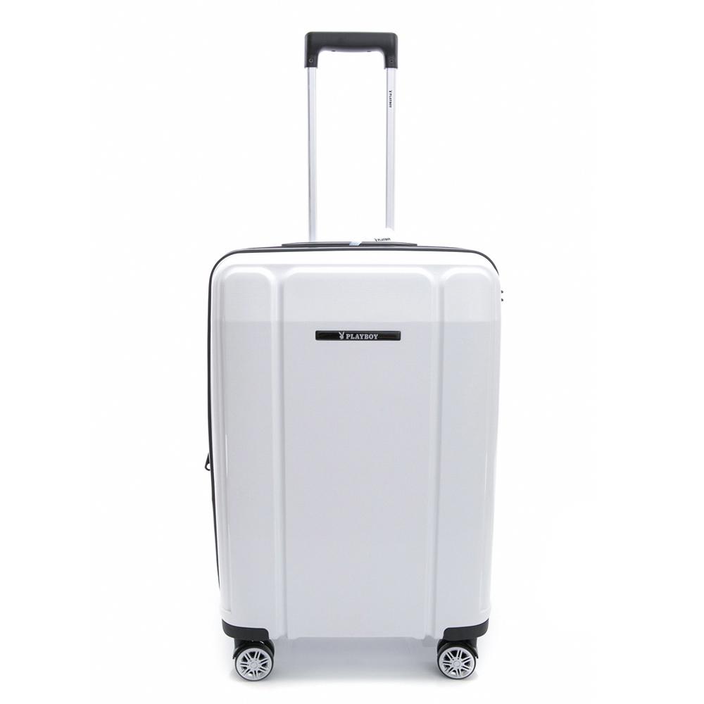 PLAYBOY-旅行箱 Minimalism系列-白色24吋
