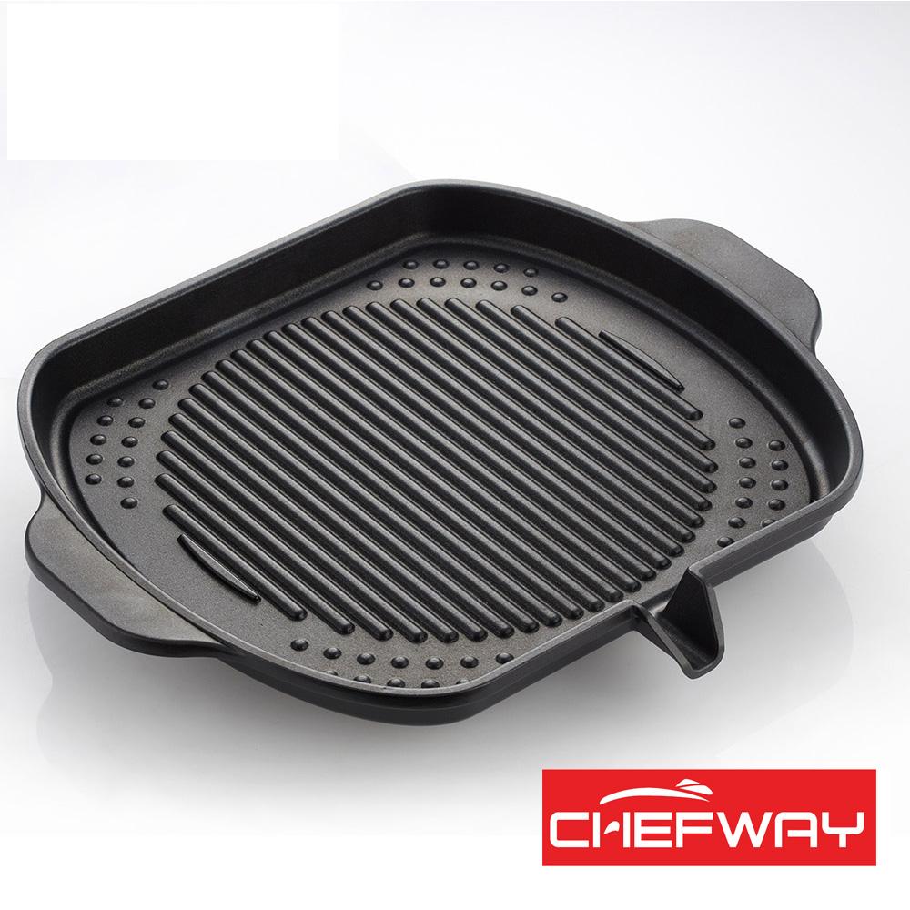 【索樂生活】韓國CHEFWAY鑽石IH方型不沾排油燒烤盤.露營戶外室內電陶磁卡式瓦斯爐煎烤牛排肉鋁合金鍋具