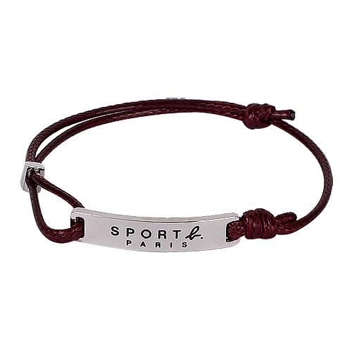 agnes b. - SPORT b銀鐵牌造型棉繩手鍊(咖)