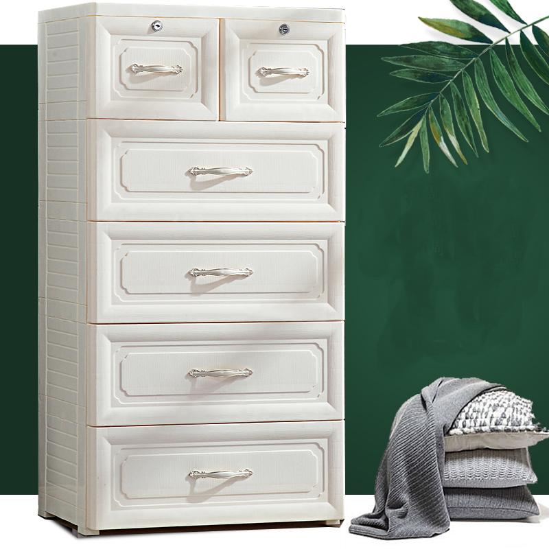 60大面寬-歐式古典緹花五層4大2小衣物收納櫃-附鎖抽屜