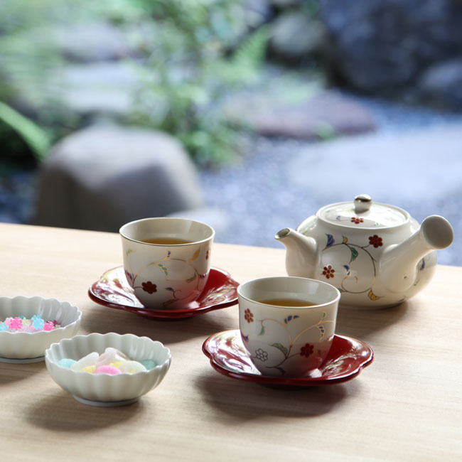 【日本橘吉】色唐草茶器(1壺5杯)-日本原裝進口