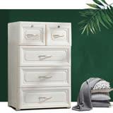 60大面寬-歐式古典緹花四層3大2小衣物收納櫃-附鎖抽屜