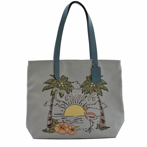 COACH 限量海灘火烈鳥印花皮飾邊托特購物包.藍綠
