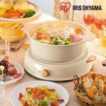 日本Iris Ohyama ricopa IH料理電磁爐組(含陶瓷鍋)-象牙白