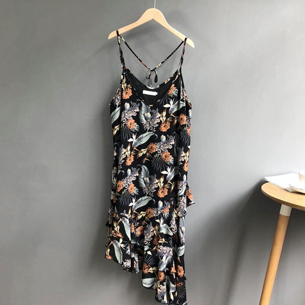 【nata】夏日印花不規則洋裝