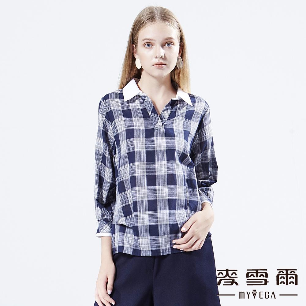 【麥雪爾】純棉格紋襯衫領寬袖上衣