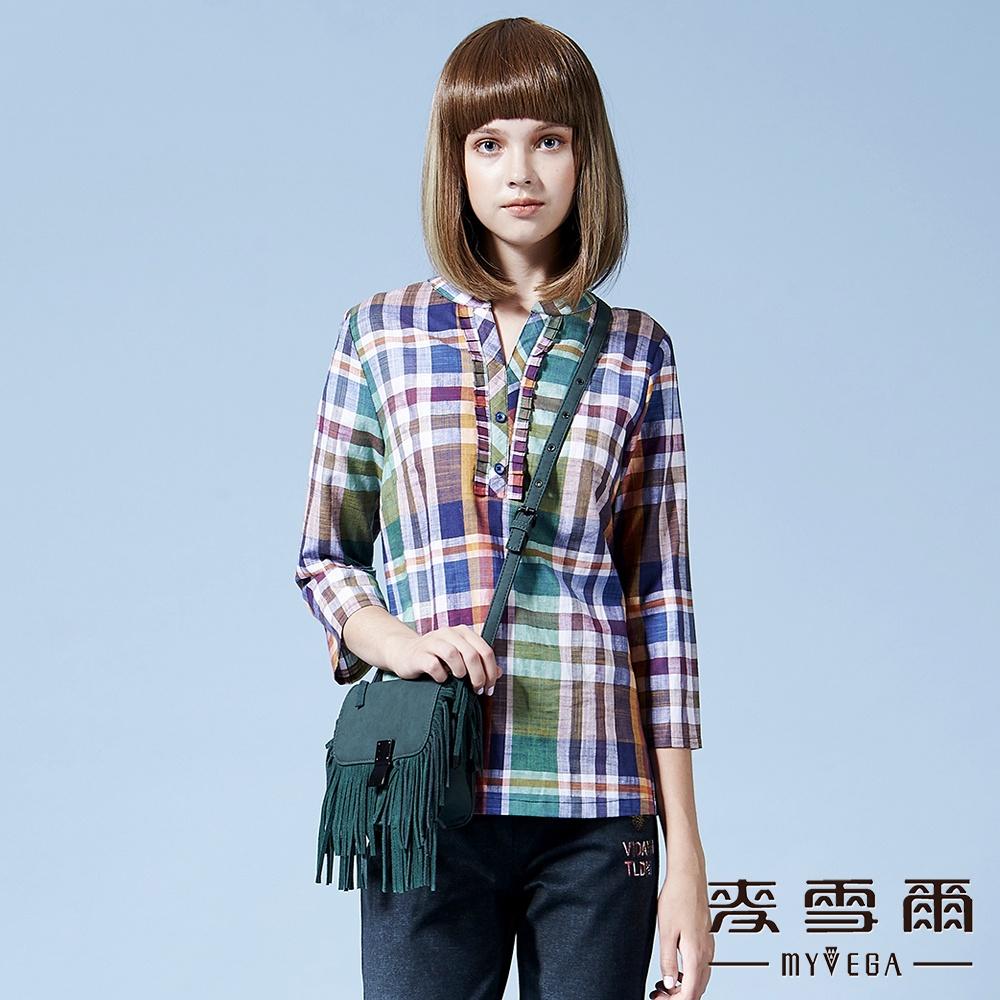 【麥雪爾】純棉麻格紋V領七分袖上衣