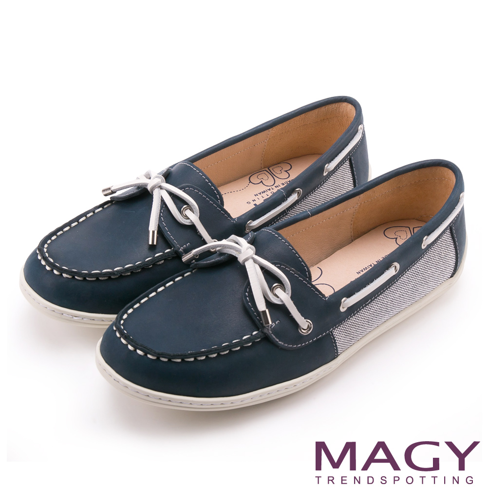MAGY 經典復古 雙材質拼接柔軟牛皮透氣帆船鞋-藍色