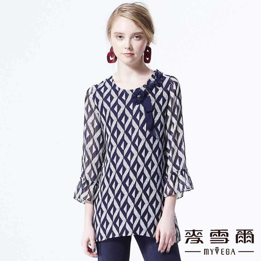 【麥雪爾】幾何圖形微透膚雪紡上衣