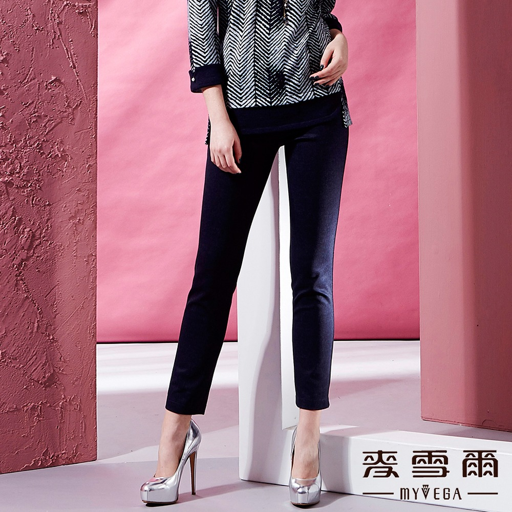 【麥雪爾】條紋腰帶素色彈性九分褲