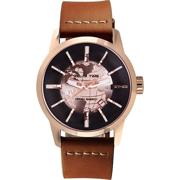 RELAX TIME RT62S 系列 人動電能地球手錶-玫塊框x咖啡色帶/45mm RT-62S-5
