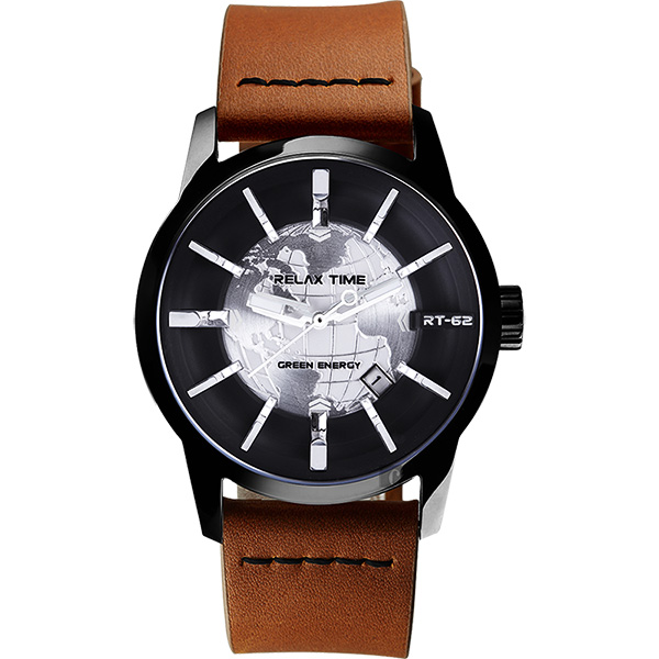 RELAX TIME RT62S 系列 人動電能地球手錶-黑x咖啡色帶/45mm RT-62S-1