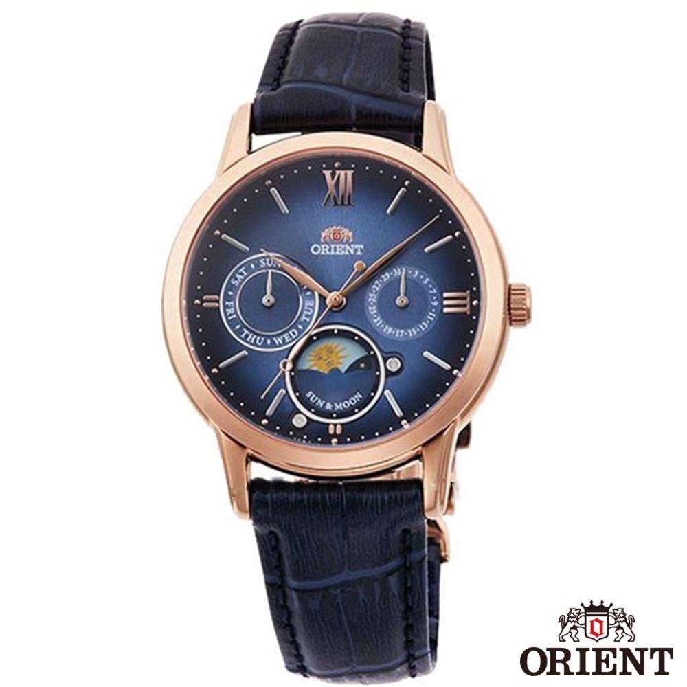 ORIENT東方錶  SUN&MOON 全球限量 藍寶石 石英女錶皮帶-藍面玫金x35mm  RA-KA0007L00B
