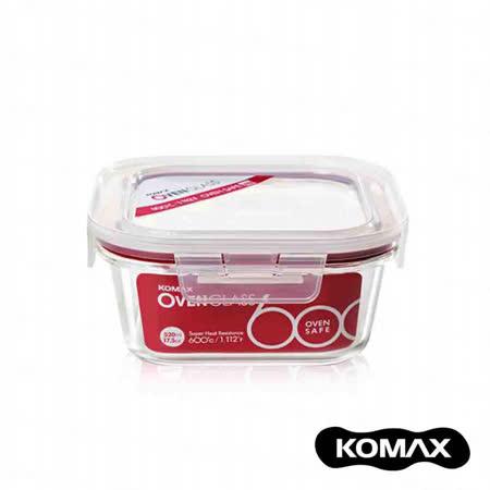 【索樂生活】韓國KOMAX耐熱玻璃保鮮盒-方型520ml.可微波蒸鍋烤箱露營野餐堆疊收納方形食物醃漬密封罐樂扣蓋便當飯盒