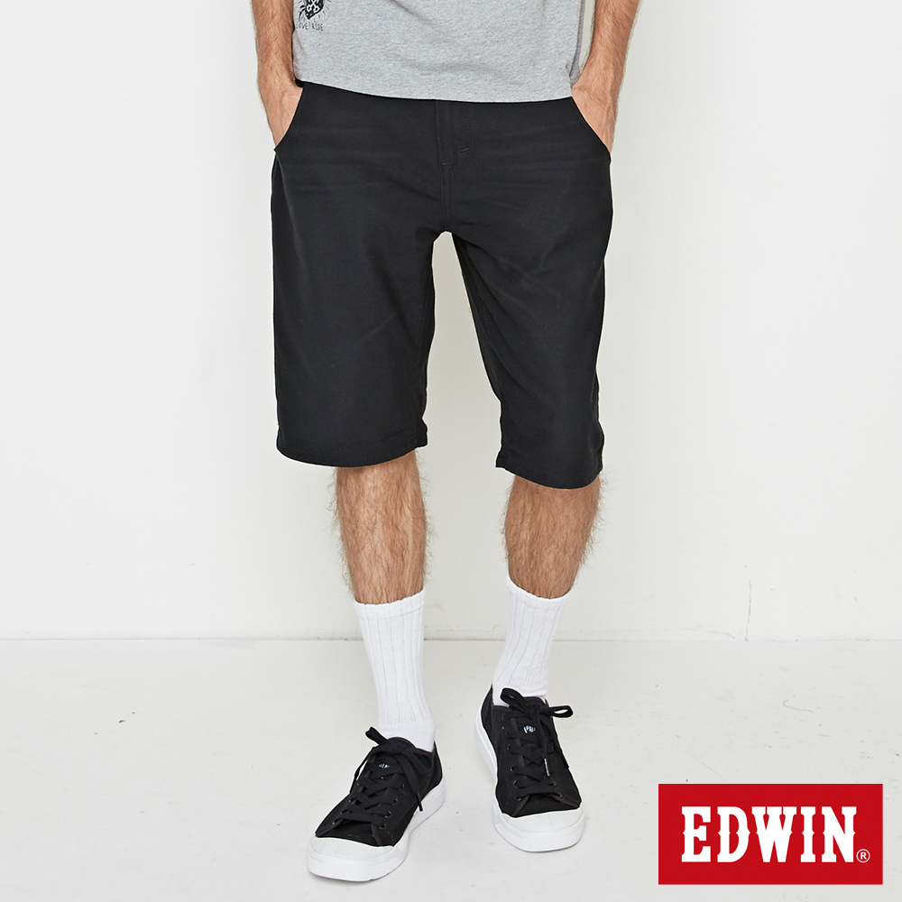 EDWIN JERSEYS 迦績合身休閒短褲-男-黑色