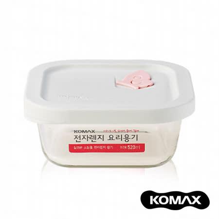 【索樂生活】韓國KOMAX耐熱玻璃蒸氣孔保鮮盒-方型520ml.可微波露營野餐環保堆疊收納方形食物醃漬密封罐樂扣蓋便當盒