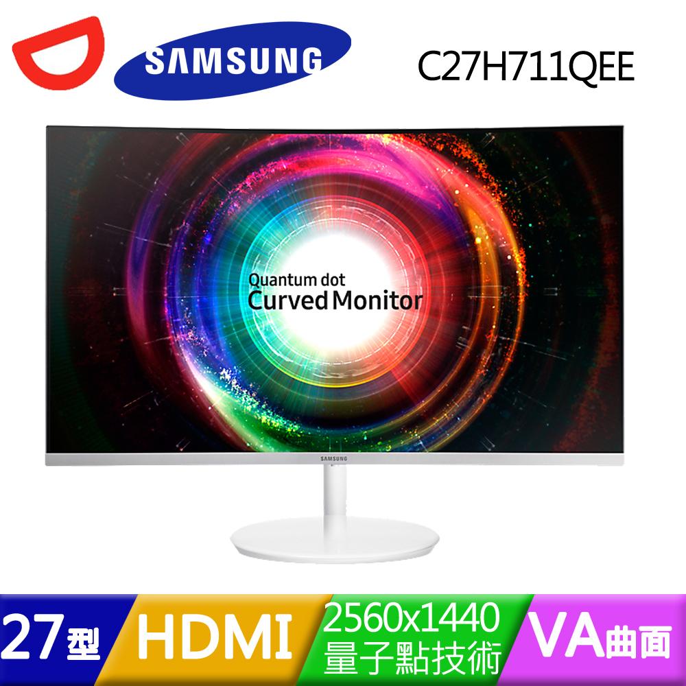SAMSUNG三星 C27H711QEE 27型VA曲面2K量子點技術電競螢幕