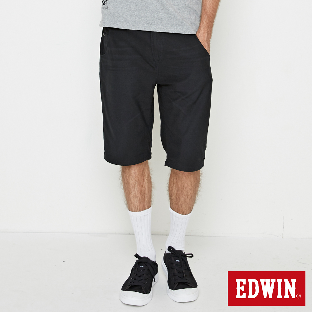 EDWIN JERSEYS 大尺碼 迦績合身休閒短褲-男-黑色