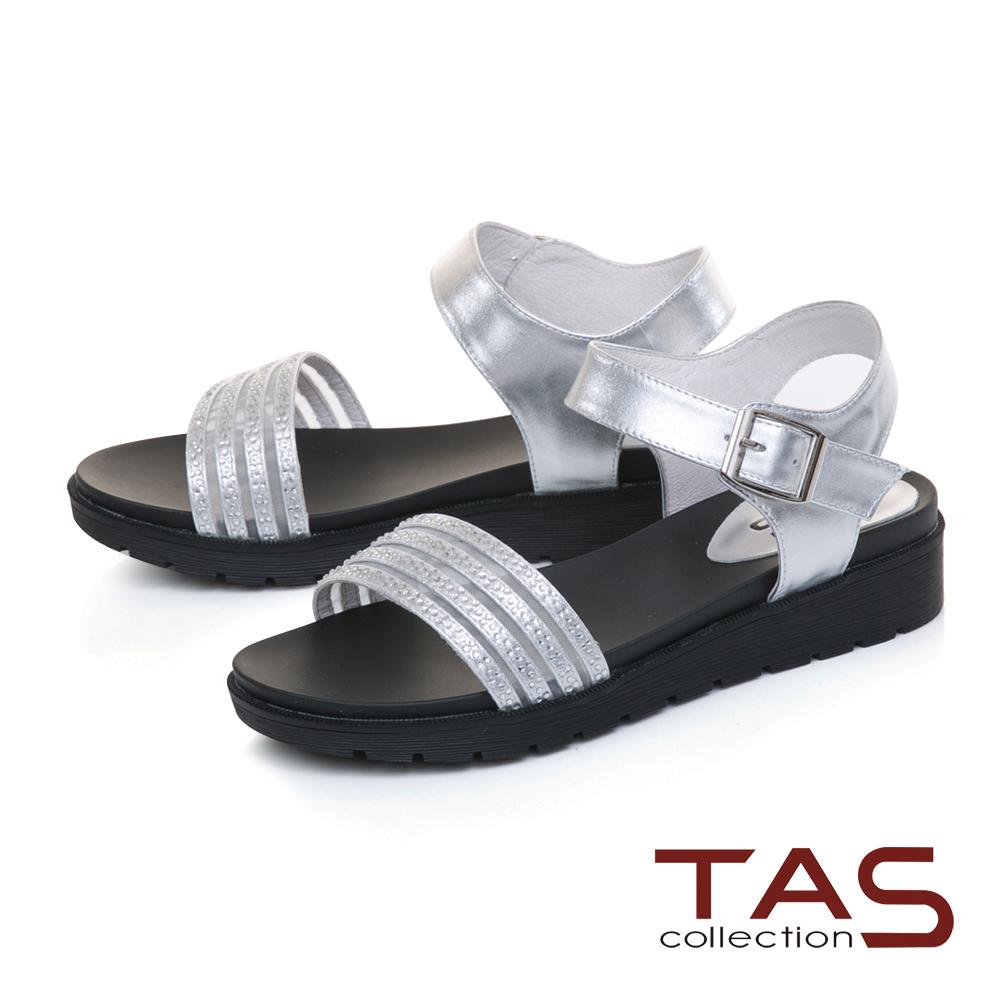 TAS質感水鑽繫帶繞踝魔鬼氈內增高涼鞋-閃耀銀