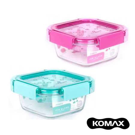 【索樂生活】韓國KOMAX Ice Glass冰鑽方型玻璃保鮮盒380ml.露營野餐環保食物醃漬密封罐樂扣蓋微波便當盒