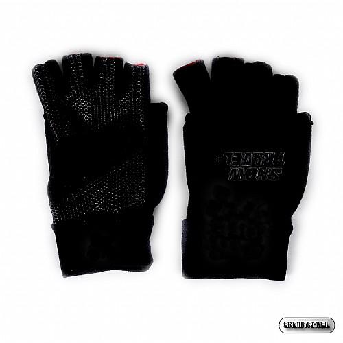 [SNOW TRAVEL] WINDBLOC防風保暖半指兩用手套 (黑色)