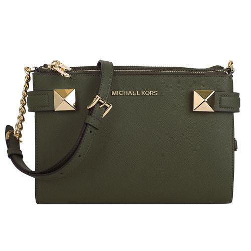 MICHAEL KORS- 鉚釘防刮可對開三層斜背包/橄覽綠